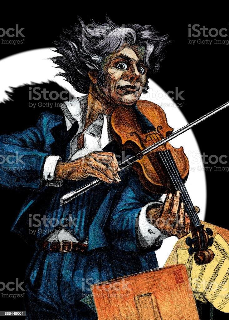 Crazy musician, violinist vector art illustration