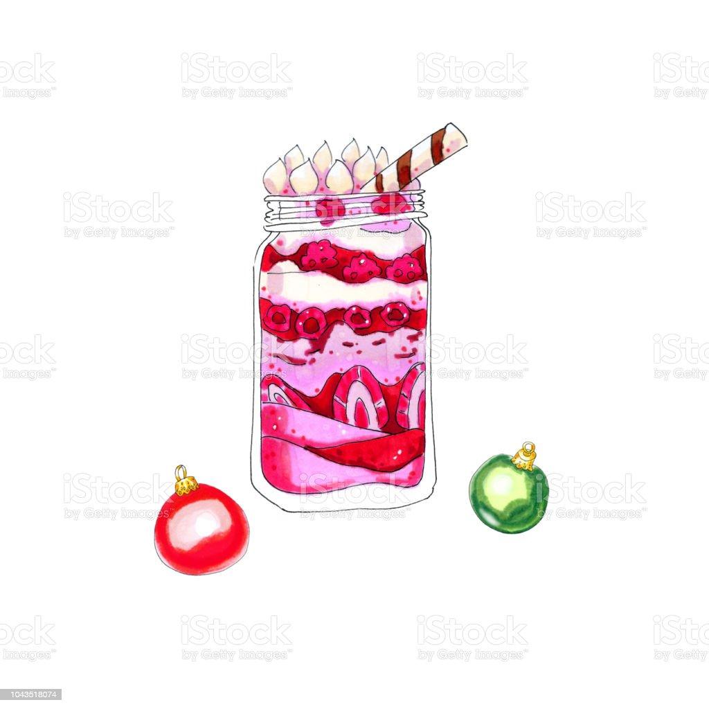 Christbaumkugeln Rosa Glas.Cremige Rosa Schichtdessert Mit Himbeeren Und Erdbeeren Im Glas Mit