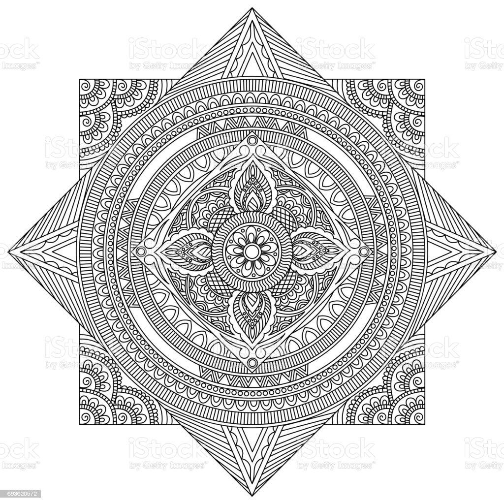 Yaratıcı Ayrıntılı Mandala Tasarım Güzel çiçek Oryantal Desenli