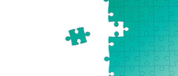 創意綠色拼圖插圖背景向量藝術插圖