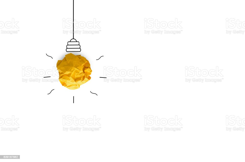 creative idea.Concept idea and innovation with paper light bulb vector art illustration