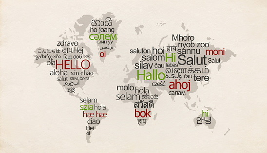 Creative map with different languages on special countries