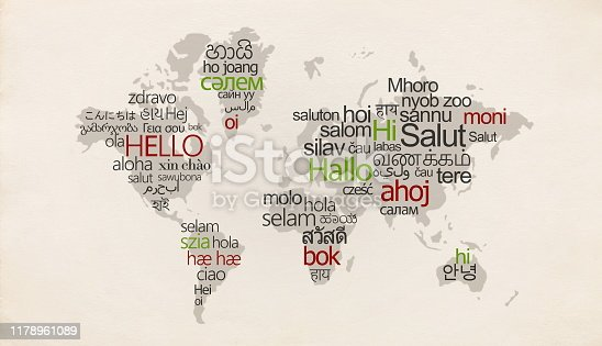 istock Creative map with different languages on special countries 1178961089