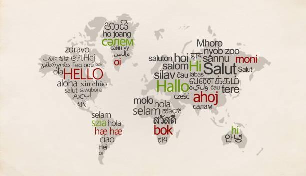 illustrazioni stock, clip art, cartoni animati e icone di tendenza di mappa creativa con lingue diverse in paesi speciali - lingua