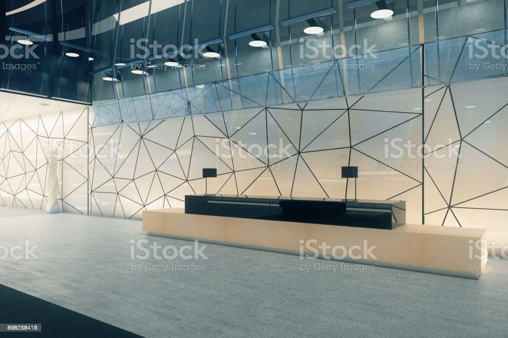 Creative office interior with reception vector art illustration