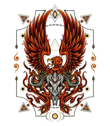 Creative powerful phoenix illustration