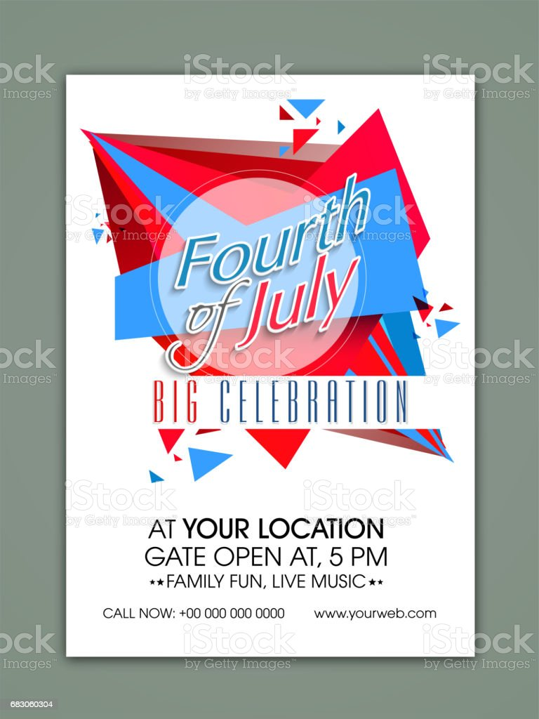 creative template banner or flyer design for fourth of july american