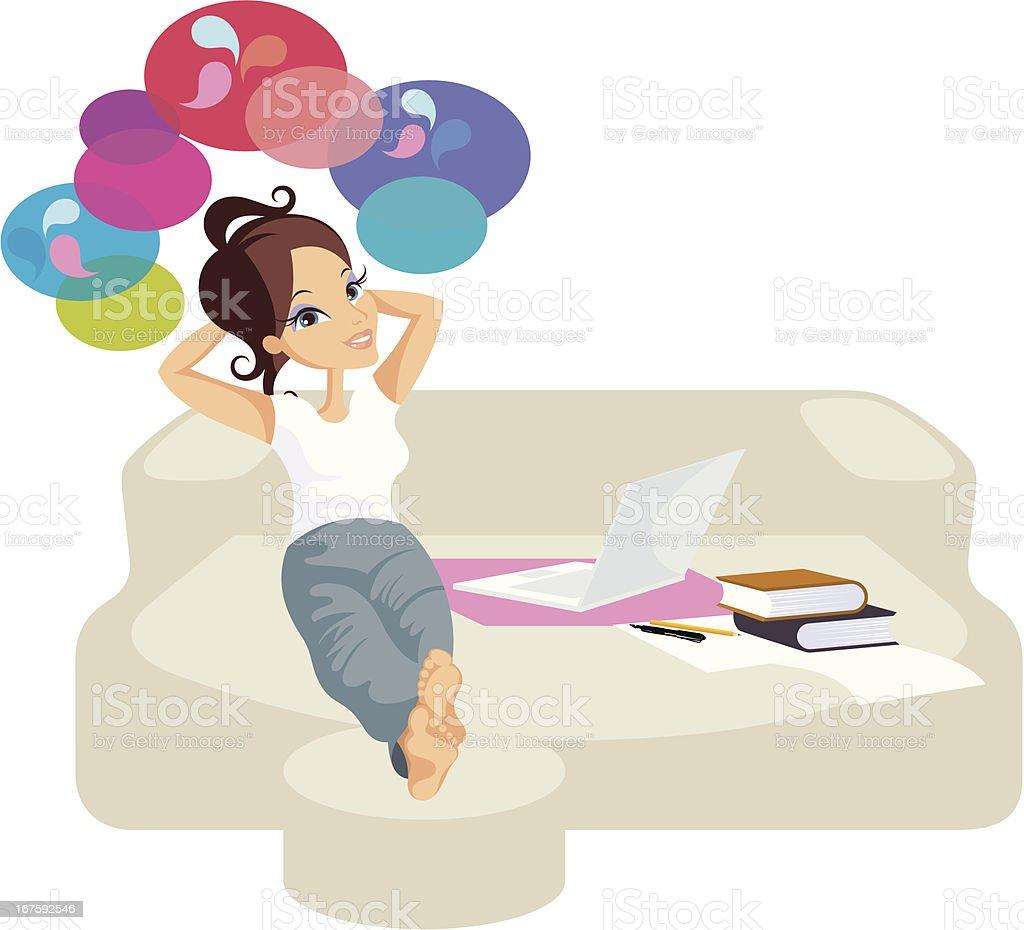 Kreatywne kobieta z laptopa. - Grafika wektorowa royalty-free (Aspiracje)