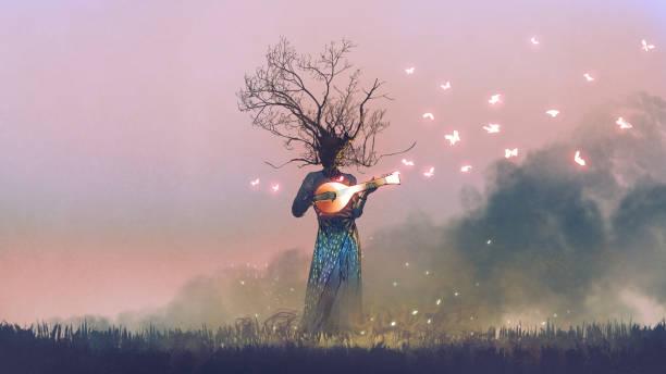 creature playing the magic banjo string instrument vector art illustration