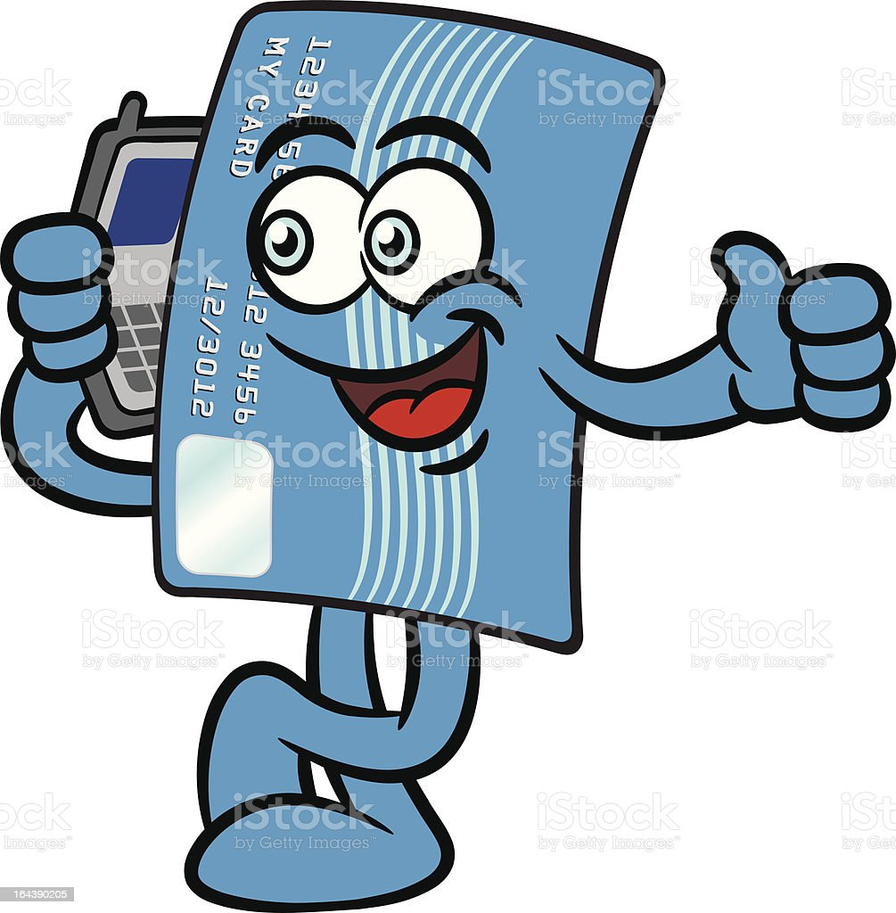 Credit Card Cartoon Mascot Character With A Cellphone royalty-free stock vector art