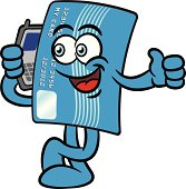 Credit Card Cartoon Mascot Character With A Cellphone