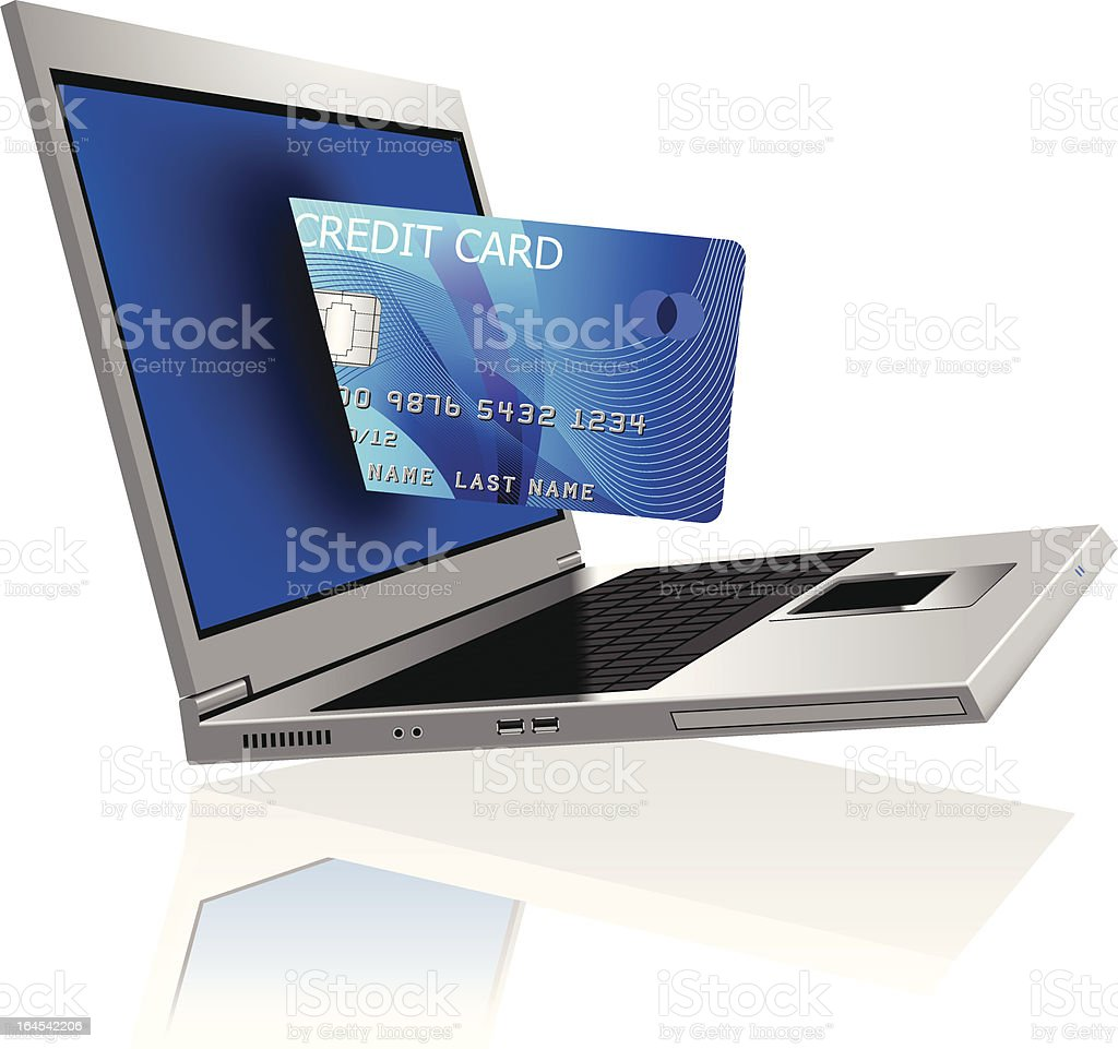 Credit Card Drawn into a Laptop royalty-free stock vector art