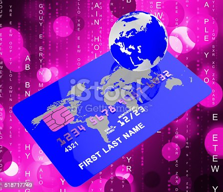 Credit Card Showing Shopping Cashless And World