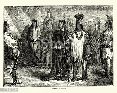 Vintage engraving of Creek (Muscogee) Native Americans, early 19th Century. The Muscogee, also known as the Mvskoke, Creek and the Muscogee Creek Confederacy, are a related group of indigenous peoples of the Southeastern Woodlands
