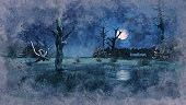 Watercolor sketch of scary swamp with creepy dead trees at dark misty night with big full moon. Gloomy grunge style digital illustration from my own 3D rendering file.