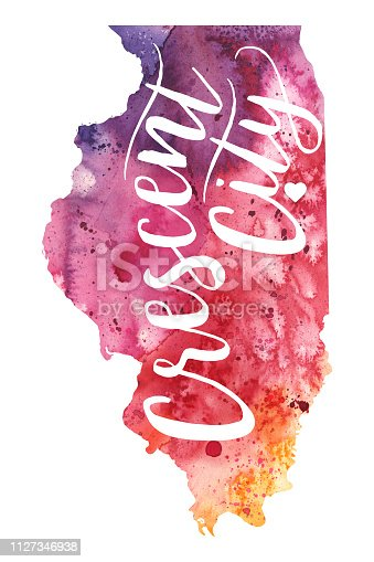Crescent City, Illinois Watercolor Raster Map Illustration