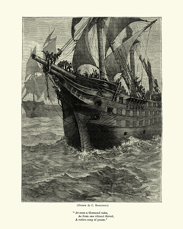 Crew of a old sailing ship climbing the rigging, Victorian