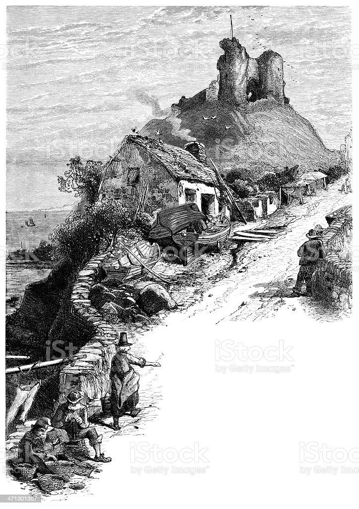 Criccieth Castle, North-West Wales (1875 engraving) vector art illustration