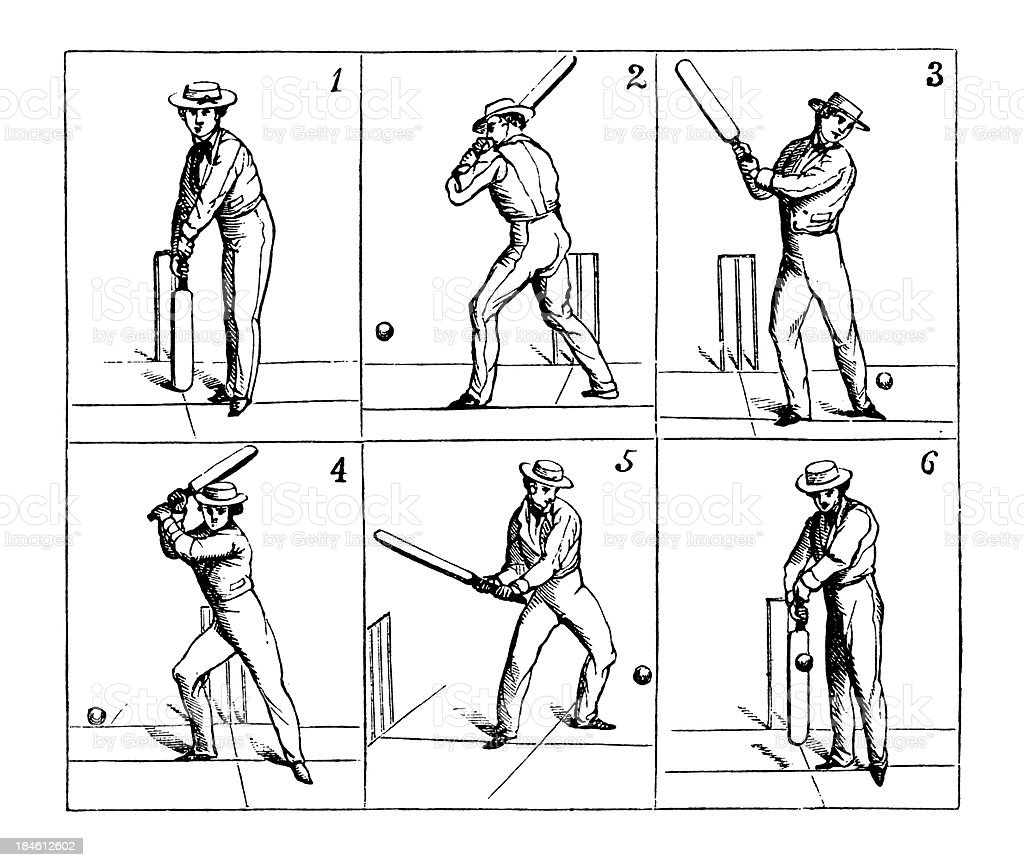 Antique illustration of cricket batsman hitting the ball in different...