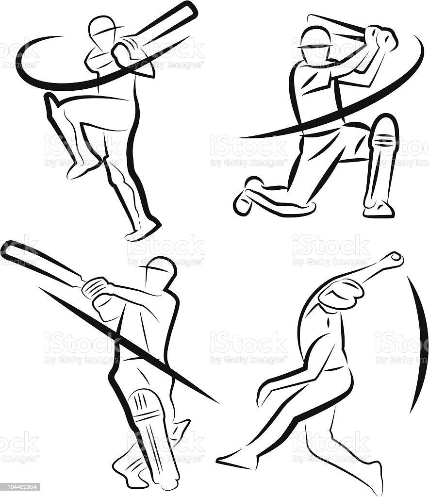 Cricket Player Outline vector art illustration