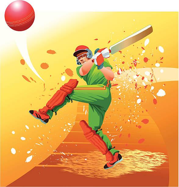 cricket-spieler schlägt der ball für sechs personen - cricket stock-grafiken, -clipart, -cartoons und -symbole