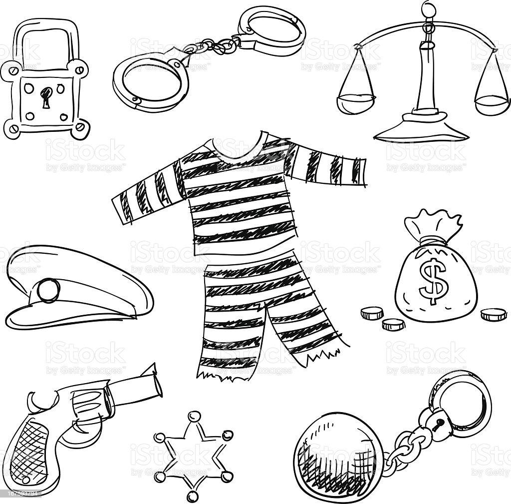 Crime e de justiça collection em preto - ilustração de arte em vetor