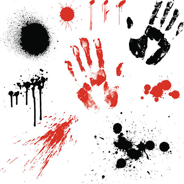 Crime Scene Hand prints and paint splatters on a white background crime scene stock illustrations
