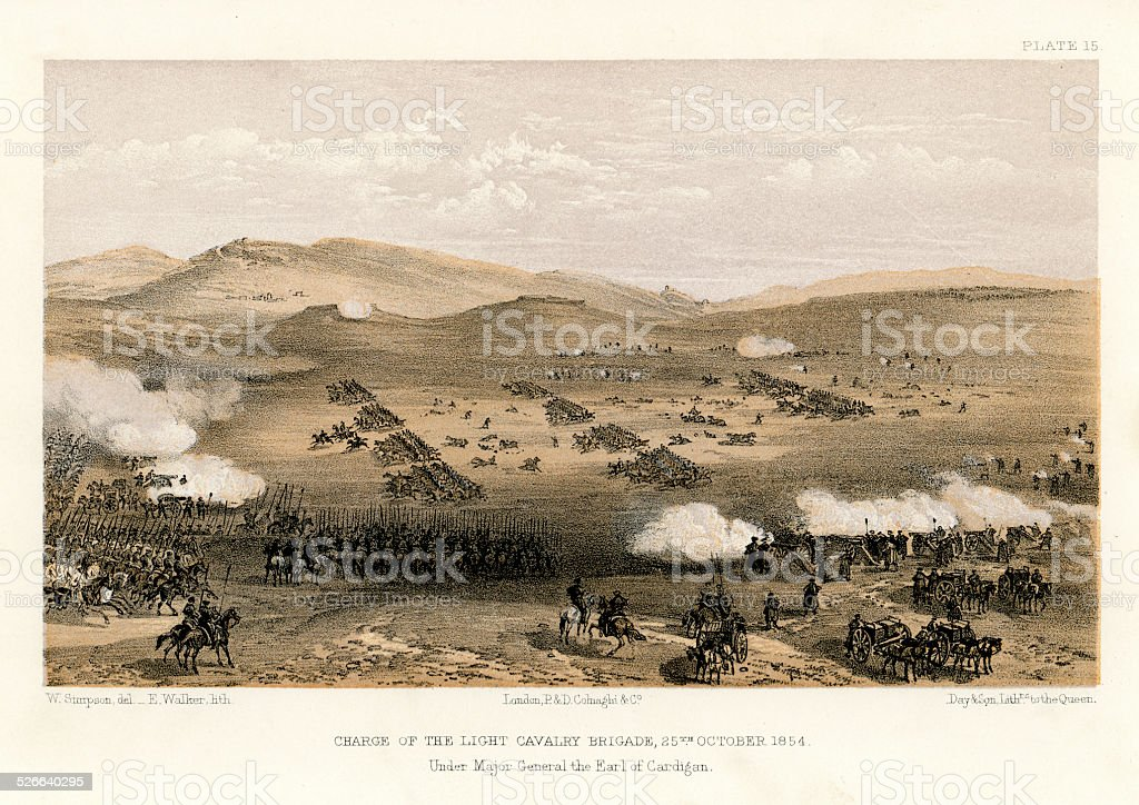 Crimean War -  Charge of the Light Brigade vector art illustration
