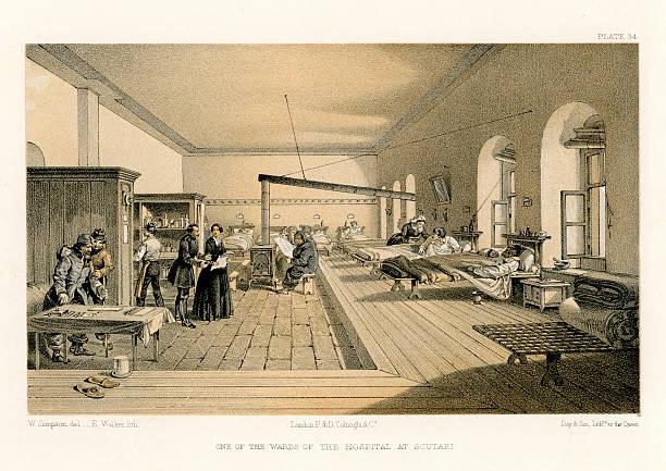 stockillustraties, clipart, cartoons en iconen met crimean war -  florence nightingale's hospital at scutari - antiek toestand