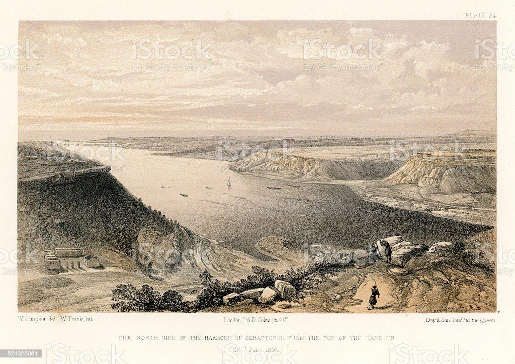 Crimean War -  Harbour of Sebastopol vector art illustration