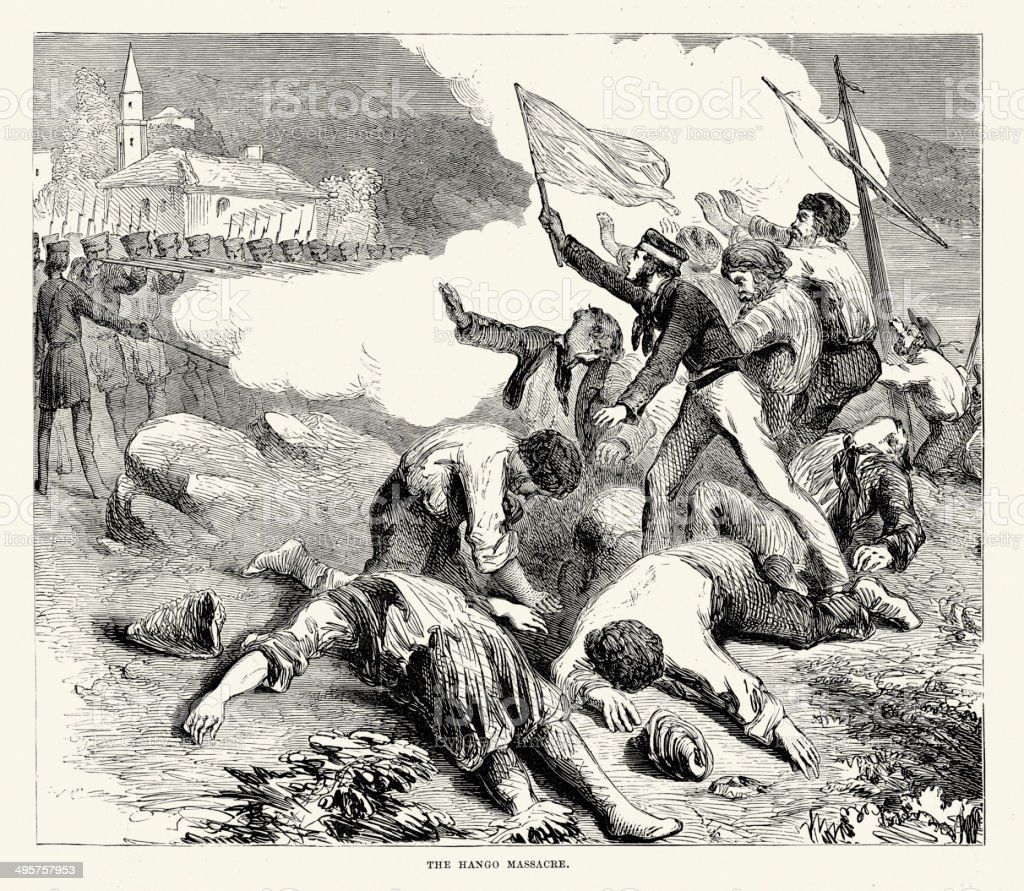 Crimean War - Massacre at Hango royalty-free crimean war massacre at hango stock vector art & more images of 19th century