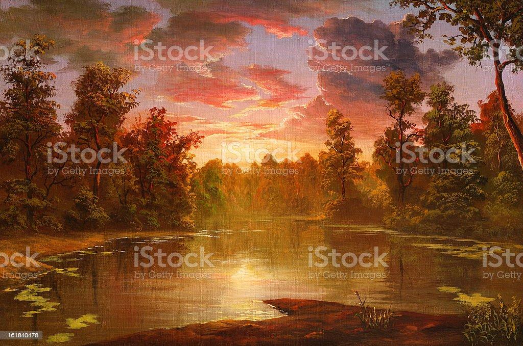 Crimson sunset royalty-free stock vector art