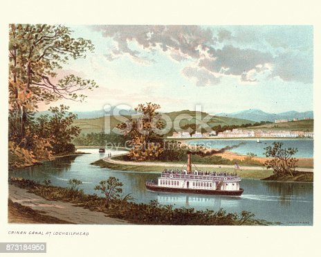 Vintage colour engraving of Crinan Canal at Lochgilphead, Argyll and Bute, Scotland, 19th Century. The Crinan Canal between Crinan and Ardrishaig in Argyll and Bute in the west of Scotland is operated by Scottish Canals. The canal, which opened in 1801, takes its name from the village of Crinan at its western end.