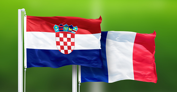 Croatia - France, FINAL OF FIFA World Cup, Russia 2018, National Flags