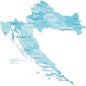 Croatia Vector Map Regions Isolated
