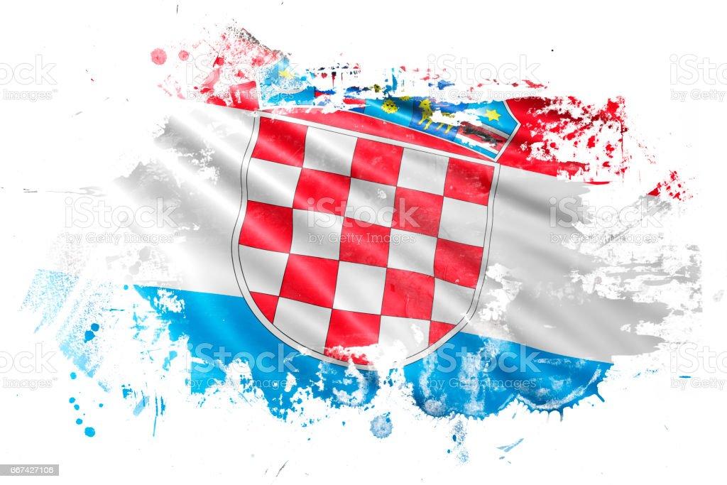 Bandera del Grunge de tinta croata - ilustración de arte vectorial