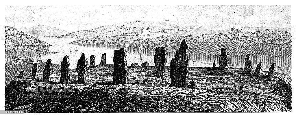 Cromlech or prehistoric megalithic structures (antique wood engraving) royalty-free stock vector art