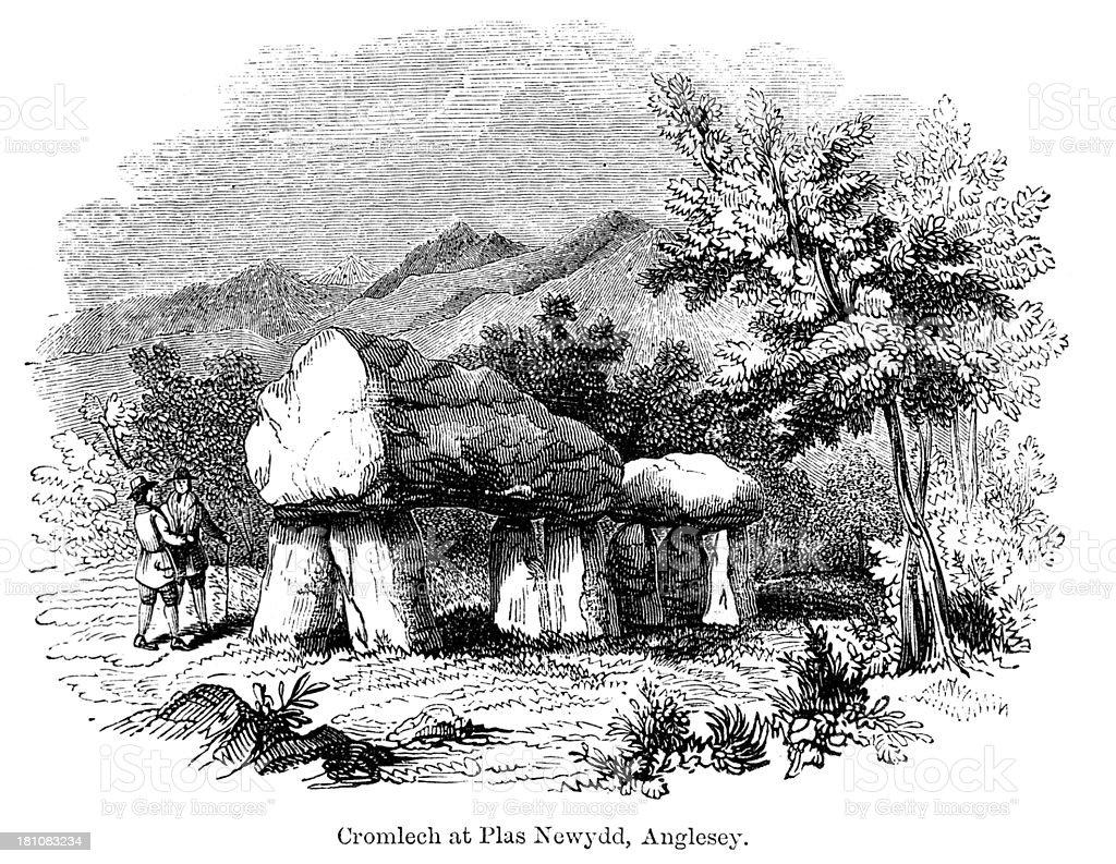 Cromlech, Plas Newydd, Anglesey vector art illustration