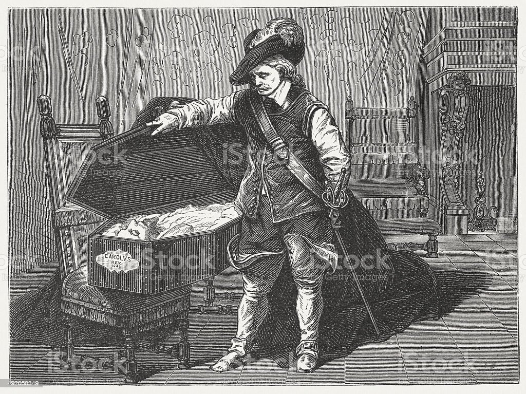 Cromwell before the coffin of Charles I, published in 1881 vector art illustration