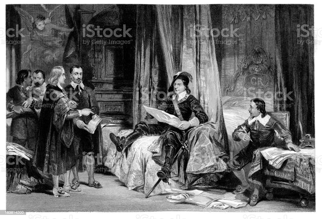 Cromwell confering with the lawyers vector art illustration