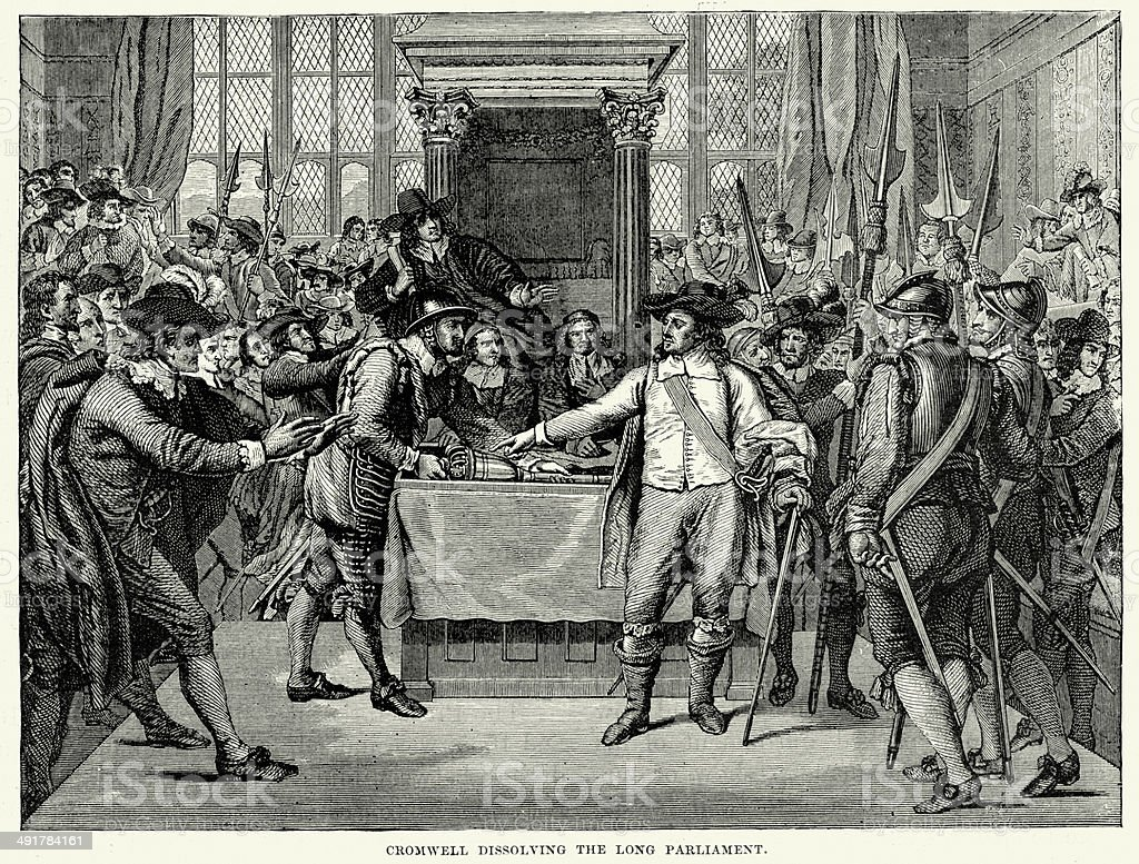 Cromwell dissolving the Long Parliament vector art illustration