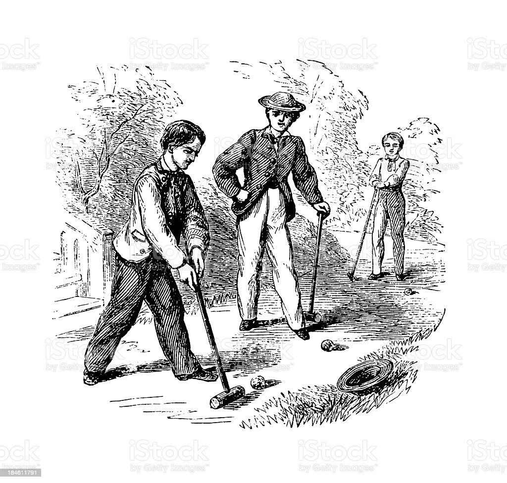 Croquet Antique Sports Illustrations Stock Vector Art