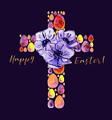Watercolor illustration of Easter cross of eggs with anemones on dee purple background for Eater celebrations as symbol of resurrection and new life
