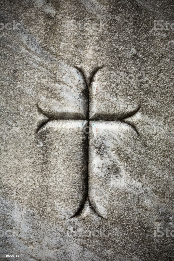Cross On A Tombstone royalty-free stock vector art