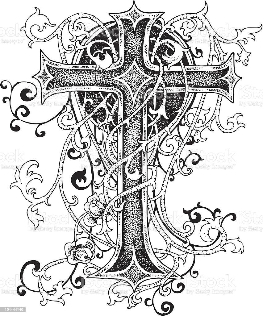 Cross ornament design vector art illustration