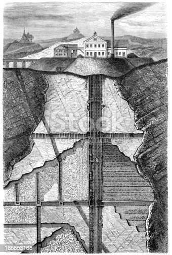 Vintage engraving of a cross section of a 19th century ore mine