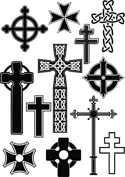 Cross silhouettes vector art illustration