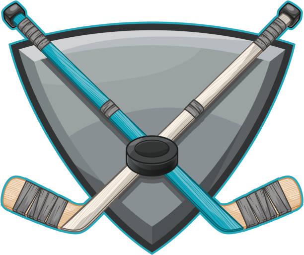 Crossed Hockey Sticks vector art illustration