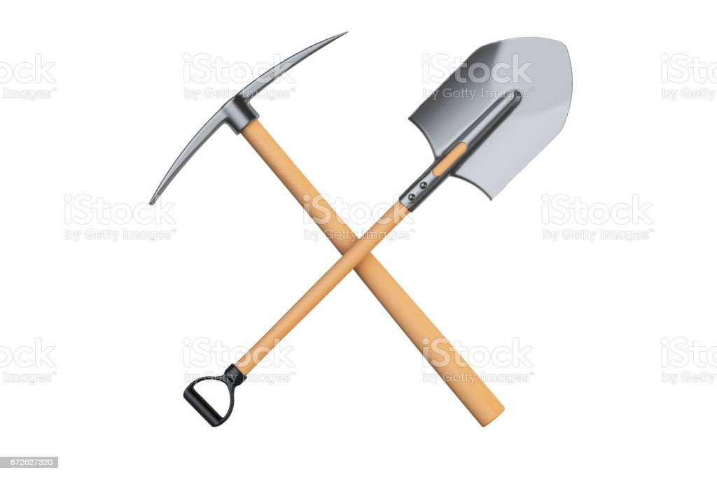 crossed pickaxe and spade, 3D rendering isolated on white background vector art illustration