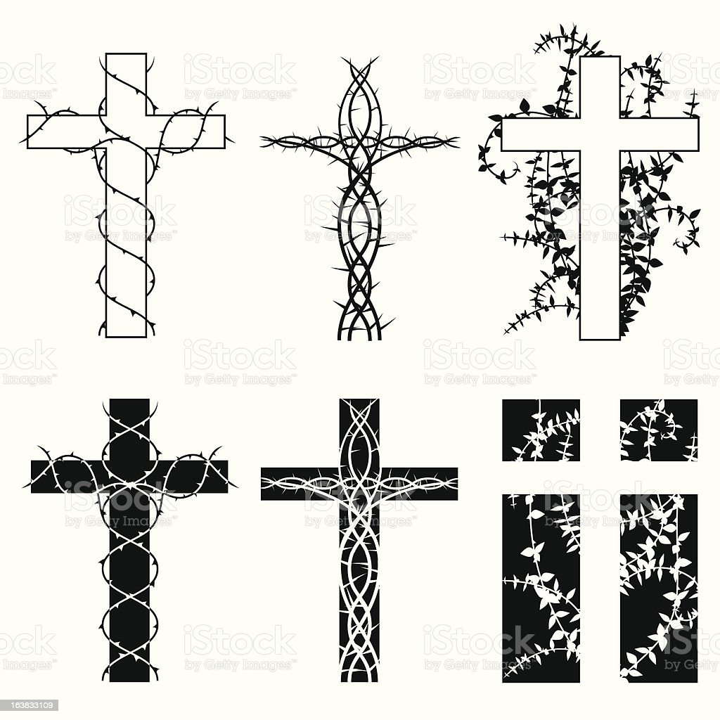 Crosses and thorns vector art illustration